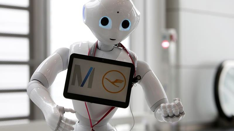 Lufthansa tests humanoid robot 'Josie Pepper' at airport in Munich, Germany